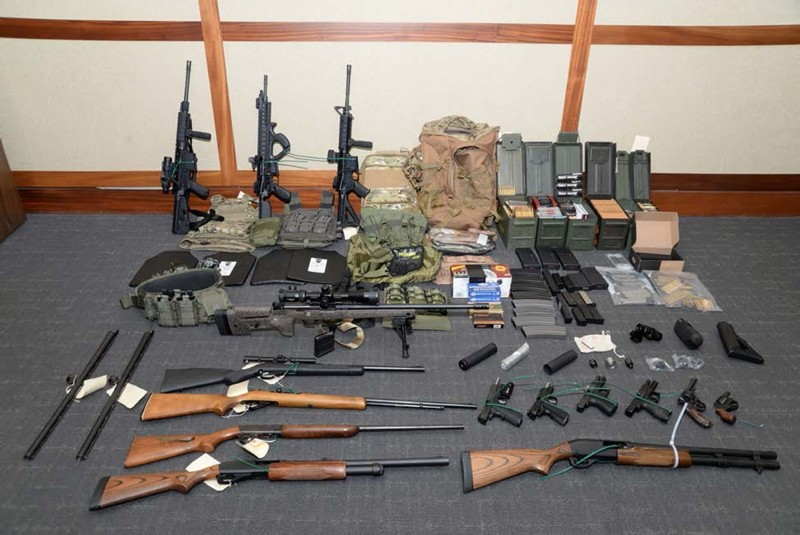 A cache of guns and ammunition uncovered by U.S. federal investigators in the home of U.S. Coast Guard lieutenant Christopher Paul Hasson in Silver Spring, Maryland, U.S., is shown in the photo provided Feb. 20, 2019. (Reuters Photo)