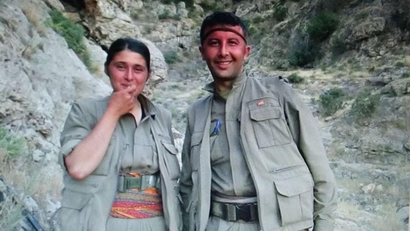 PKK senior commander Necla Atak (left) was captured by police in Mardin, Turkey (IHA Photo)