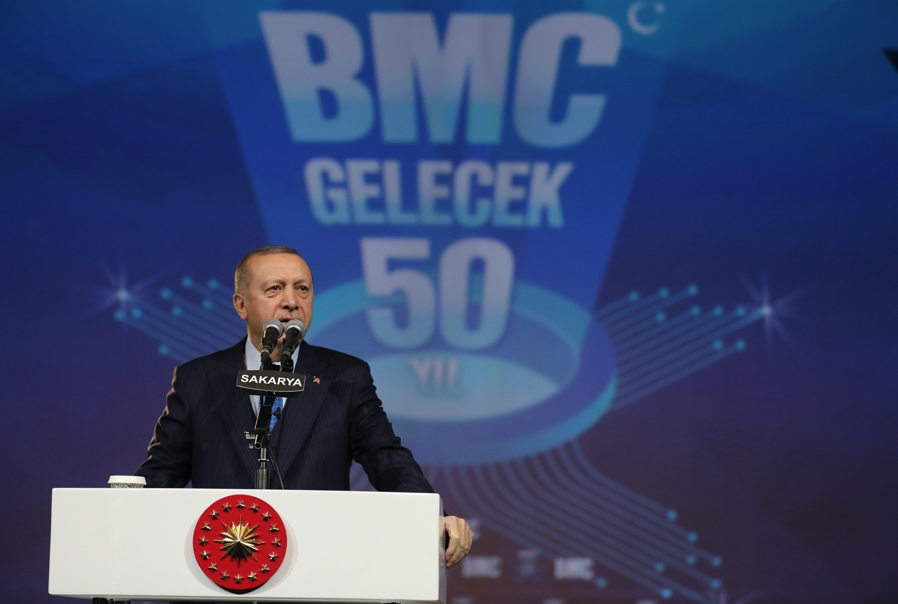 President Recep Tayyip Erdou011fan speaks at the ground-laying ceremony for the Turkish defense firms BMCu2019s new facility in industrial Marmara province of Sakarya, Jan. 13, 2019.