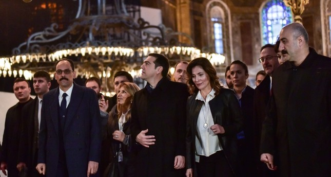 Greek PM Tsipras accompanied by Presidential Spokesman Ibrahin Kalın in Hagia Sophia, Istanbul, Feb. 6, 2019. (DHA Photo)