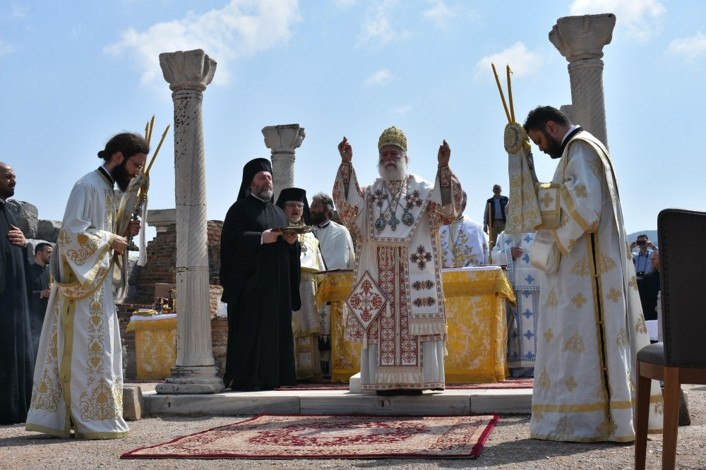 Patriarch Theodore II of Alexandria presided over the service held at the ruins of St. John Basilica, May 9.