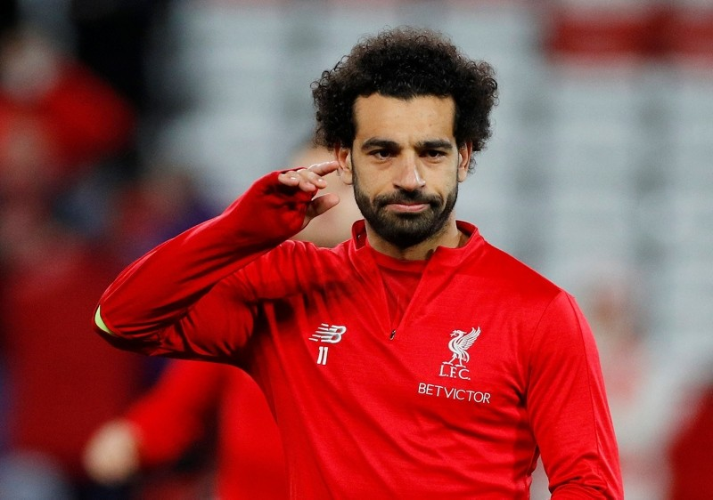 Liverpool's Mohamed Salah during the warm up before the match. (REUTERS Photo)