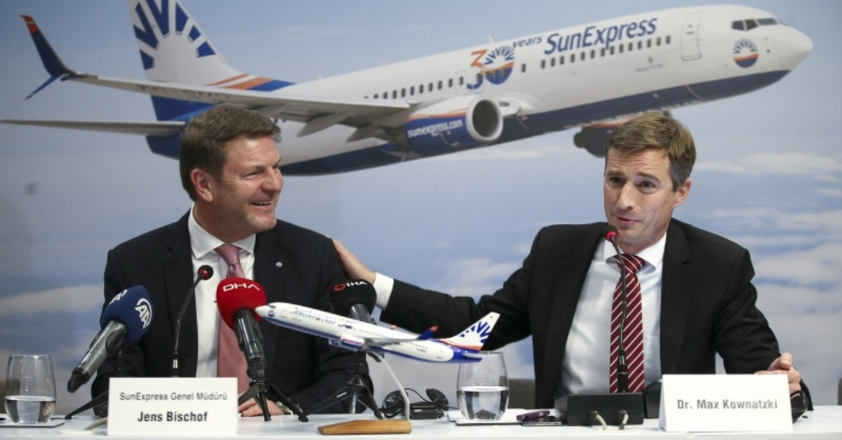 Jens Bischof (L), the outgoing CEO of Turkish-German carrier SunExpress, attends a press conference with his successor Max Kownatzki to announce 2019 results of the airline, at Istanbul Airport, Feb. 19, 2020. (AA Photo)