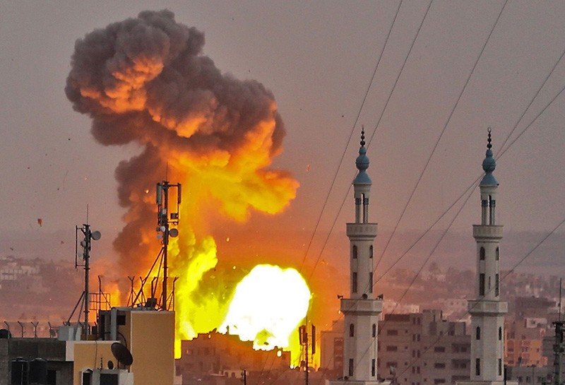 A picture taken on July 20, 2018 shows a fireball exploding in Gaza City during Israeli bombardment. Israeli aircraft and tanks hit targets across the Gaza Strip. (AFP Photo)