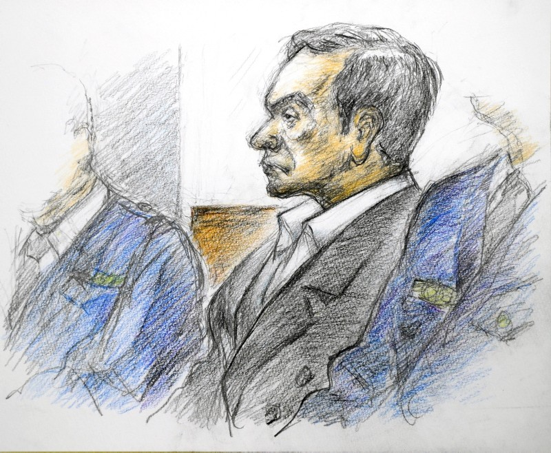 A courtroom drawing shows former Nissan Motor Co Ltd chairman Carlos Ghosn at the Tokyo District Court in Tokyo, Japan, January 8, 2019. (EPA Photo)