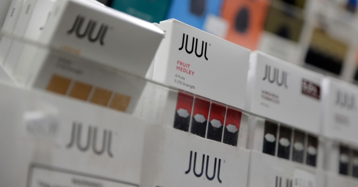 In this Dec. 20, 2018, file photo Juul products are displayed at a smoke shop in New York. (AP Photo)
