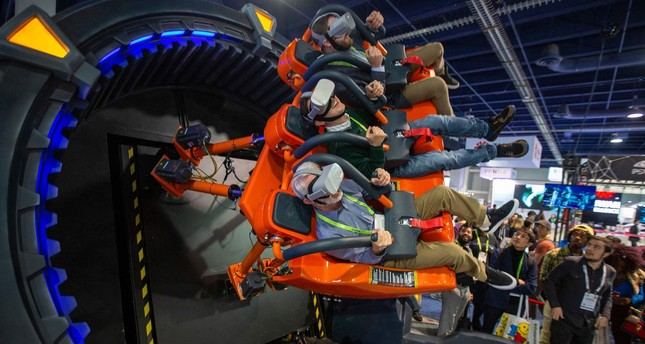 The DOF Robotics Hurricane 360 VR ride is shown at the Las Vegas Convention Center during CES 2019 in Las Vegas on Jan. 10.