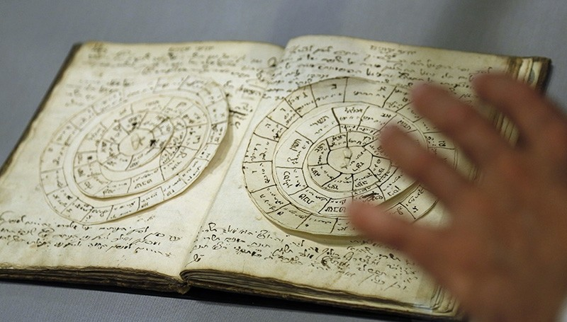 A manuscript that includes astronomical calculators is displayed at the YIVO Institute for Jewish Research in New York, Tuesday, Oct. 24, 2017. (AP Photo)