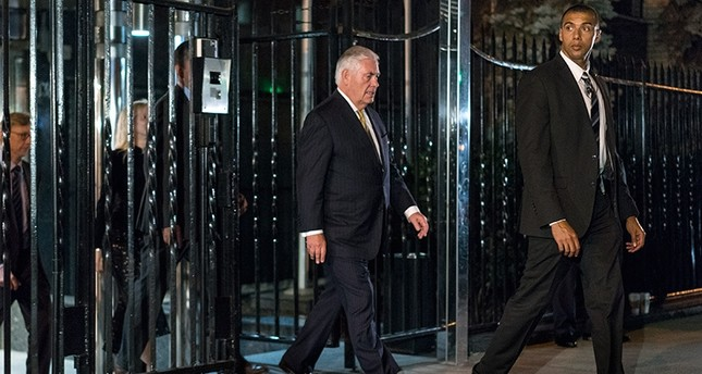 U.S. Secretary of State Rex Tillerson, center, leaves the Permanent Mission of the Russian Federation in New York, Sept. 17, 2017, after a planned meeting with Russian Foreign Minister Sergey Lavrov. (AP Photo)