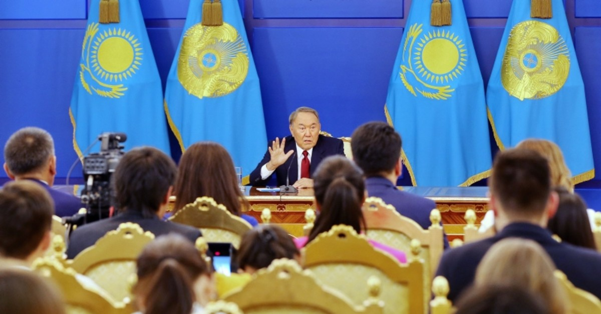 In this Sept. 14, 2017 photo, Kazakhstan's President Nursultan Nazarbayev gestures during a press conference in Astana, Kazakhstan. (AFP Photo)