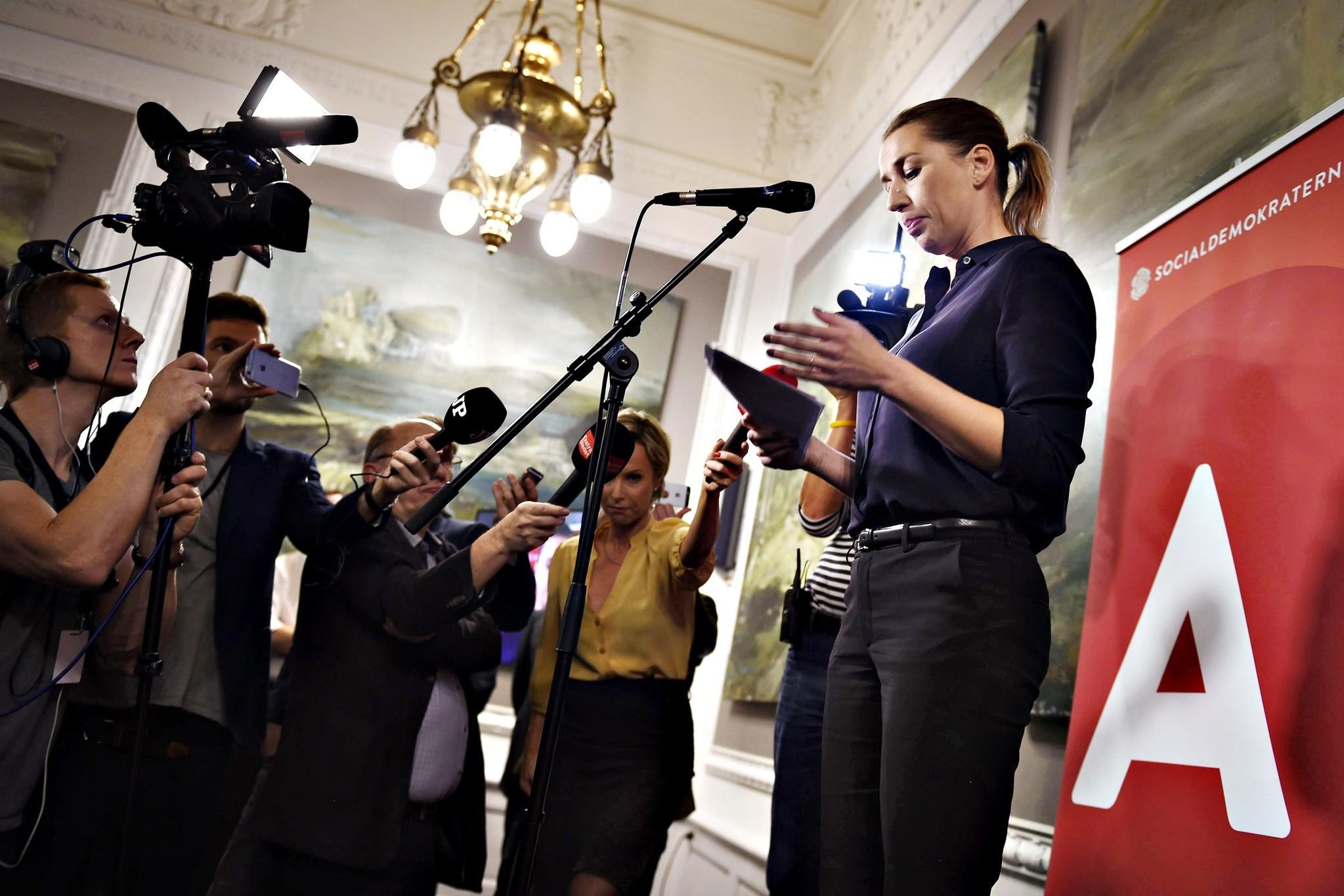 Mette Frederiksen speaks to the press in Copenhagen, December 3, 2015. (AFP Photo)