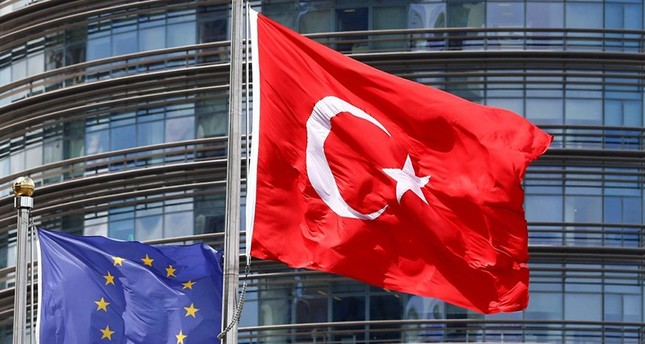 European Union (L) and Turkish flags fly outside a hotel in Istanbul, Turkey (Reuters Photo)