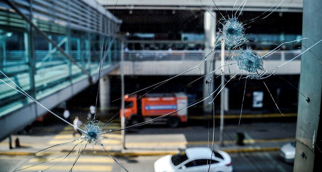 Bullet impacts are pictured at Ataturk airport's International airport on June 29, 2016, a day after a suicide bombing and gun attack targeted Istanbul's airport, killing at least 36 people. (AFP PHoto)