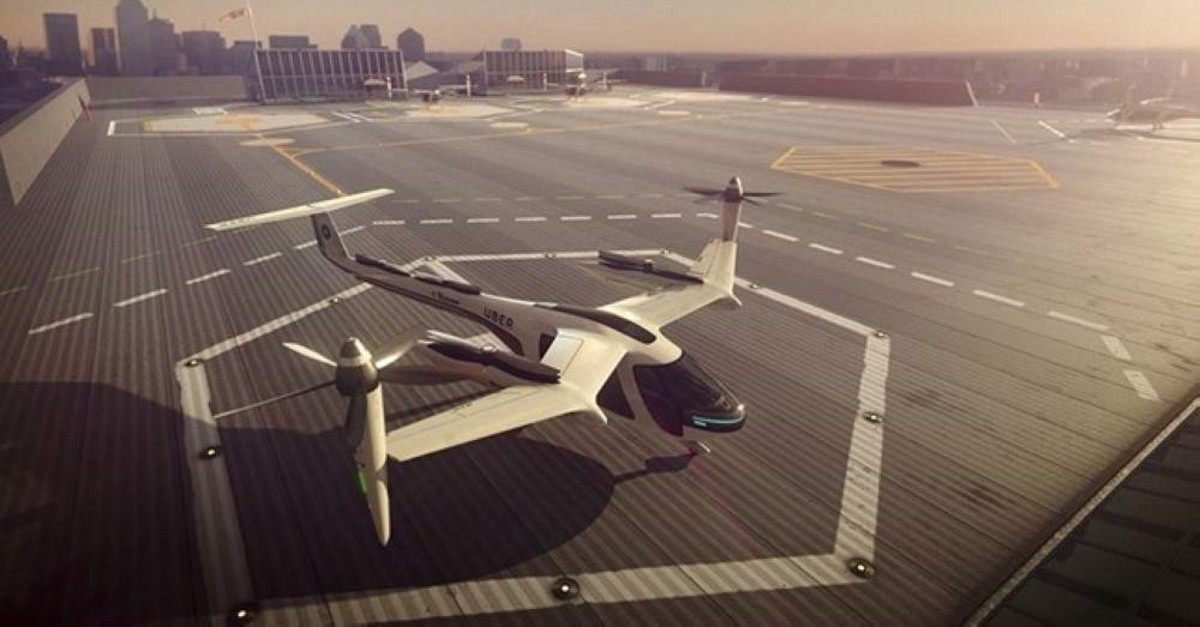 This computer generated image provided by Uber Technologies on Nov. 8, 2017 shows a flying taxi by Uber. (AP Photo)
