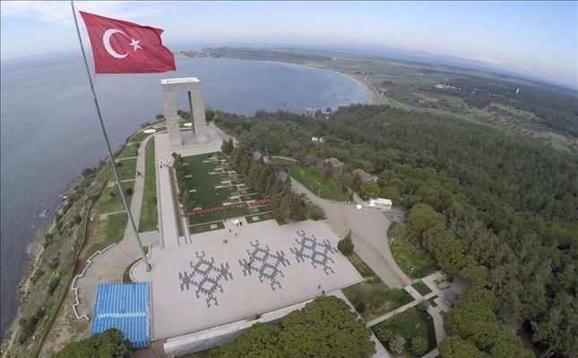 Çanakkale Martyrs' Memorial from above,  Çanakkale, Turkey.