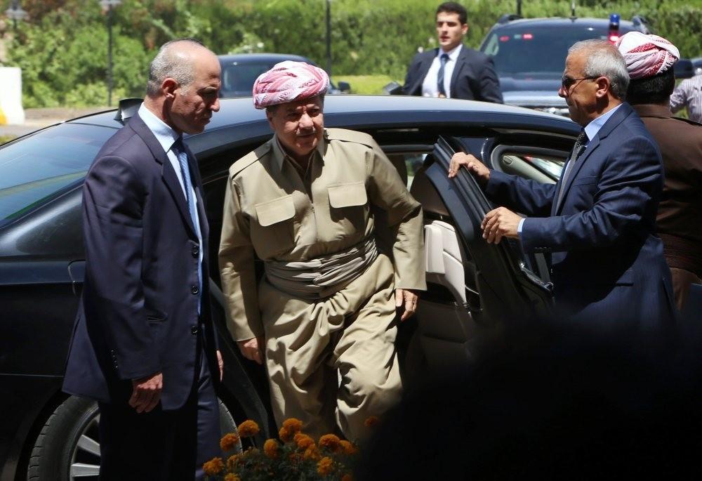 Iraqi Kurdistan Regional Government President Masoud Barzani arrives for a session of parliament , July 3, 2014, Irbil.