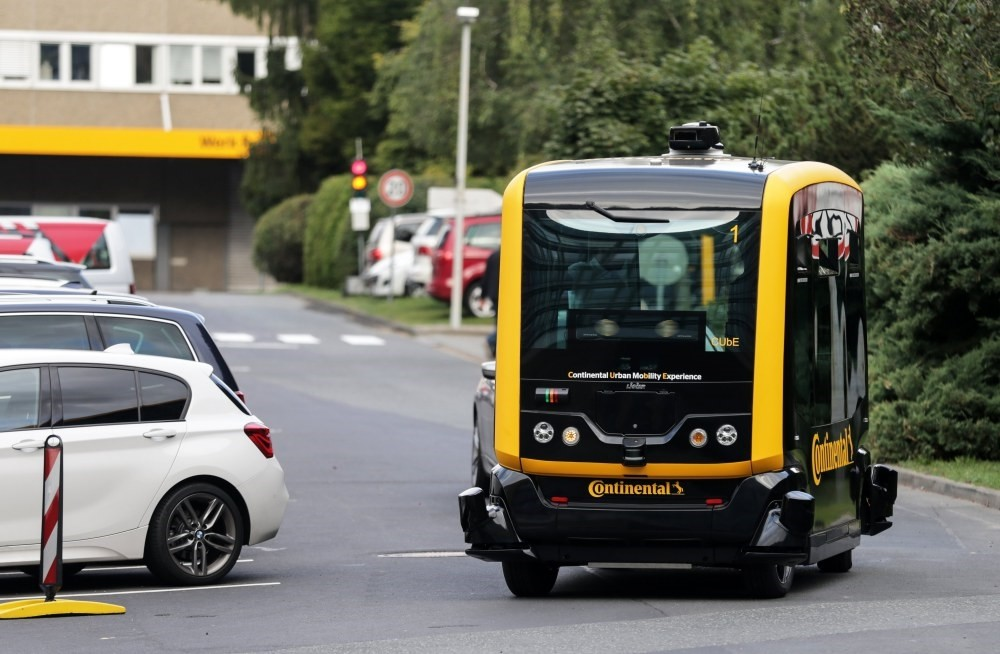 The Continental robo-taxi ,CUbE, drives on a street, as it is presented to media at the Continental company premises in Frankfurt Main.