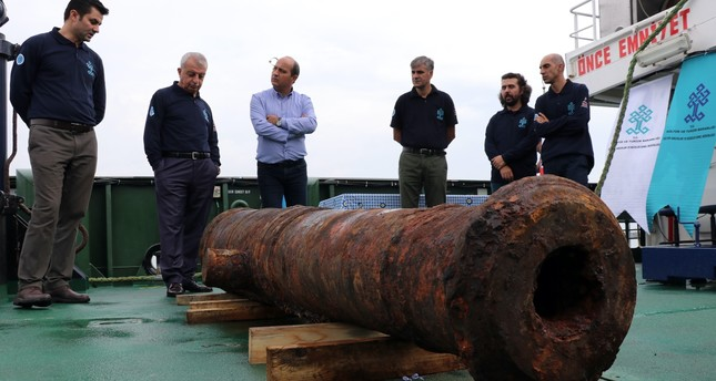 A 2.5-ton cannon was among the items found aboard the Russian vessel.