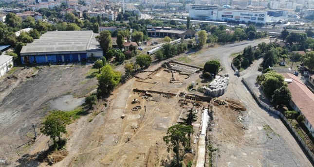 Drone footage shows the area where the 1,500-year-old church was found in Istanbul's Kadıköy district on the Asian side (IHA Photo)