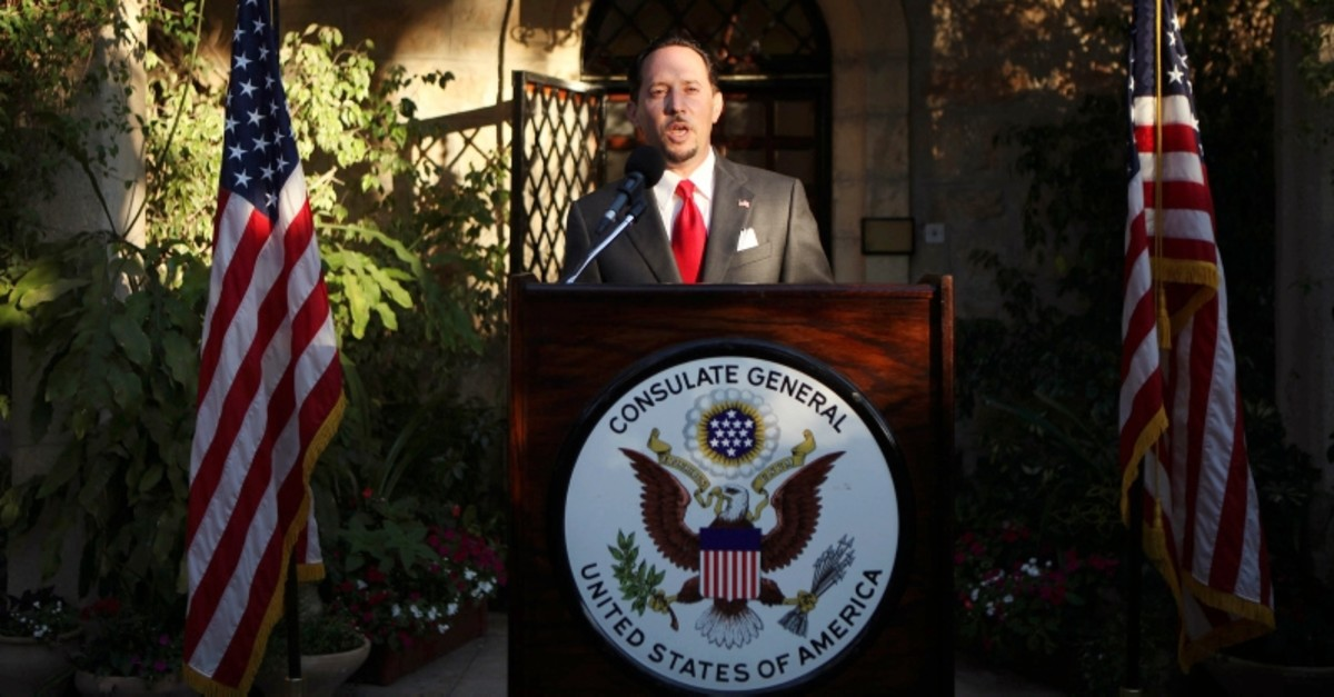 In this June 30, 201, file photo, then U.S. Consul General of Jerusalem Daniel Rubinstein gives a speech during a reception for the upcoming July 4 U.S. Independence Day celebrations at the American Consulate in Jerusalem. (AP Photo)