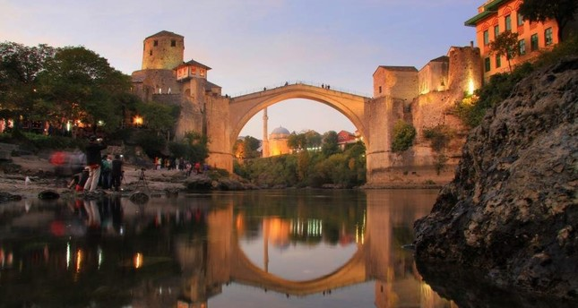 Built in the 16th century and demolished in 1993 during the Bosnian War, the Mostar Bridge was restored in 2004. (AA Photo)
