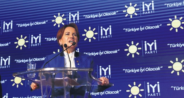 Good Party (İP) leader Meral Akşener during a meeting as part of the campaign for the June 24 parliamentary and presidential elections.