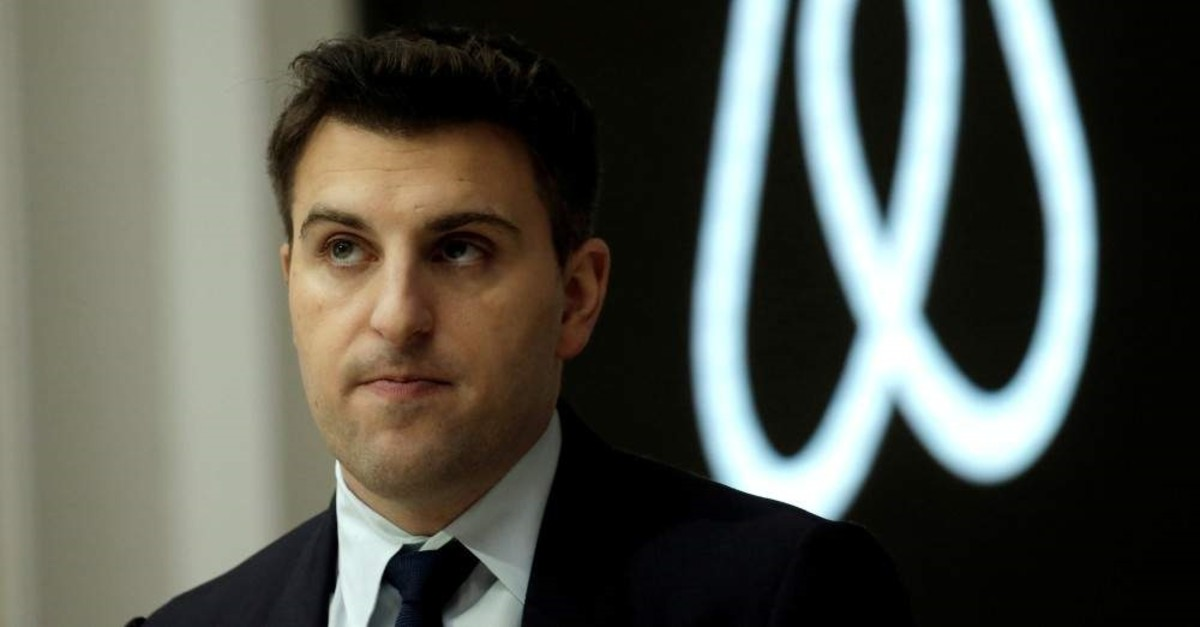 FILE PHOTO: Brian Chesky, CEO and Co-founder of Airbnb, speaks to the Economic Club of New York at a luncheon at the New York Stock Exchange (NYSE) in New York, U.S. March 13, 2017. REUTERS/Mike Segar/File Photo