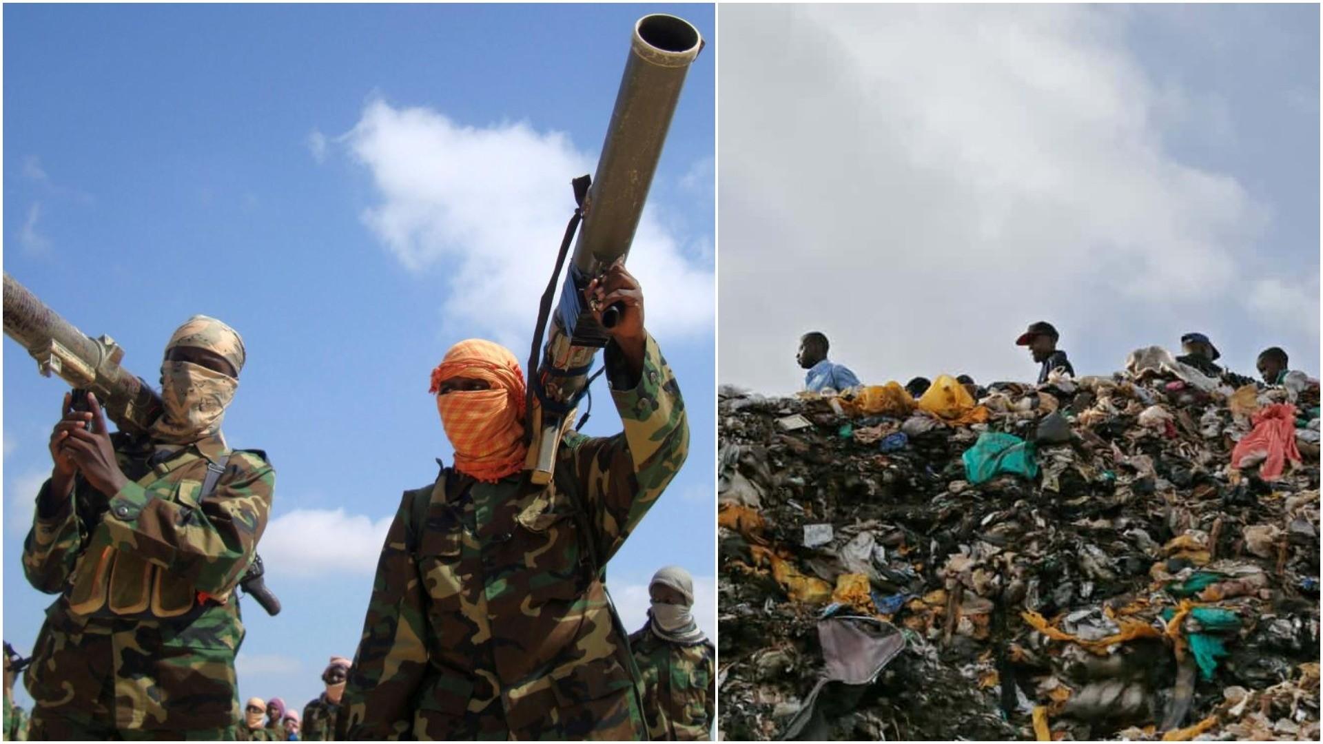 Members of Somalia's al-Qaida linked al-Shabab militia hold their weapons in Mogadishu Jan. 1, 2010. (REUTERS) / Plastic bags in Kenya. (EPA)