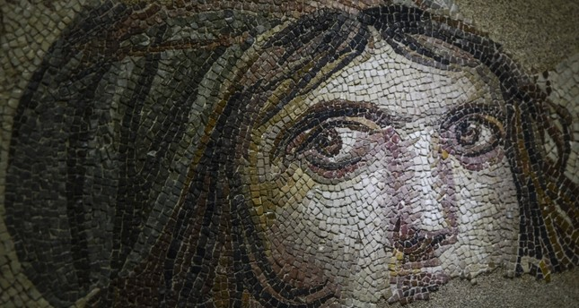 Photo shows the famous Gypsy Girl mosaic at the Zeugma Mosaic Museum. AA Photo