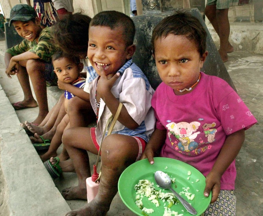 East Timorese refugee children at a camp in Tua Pukan, Kupang, Sept. 10, 2000.