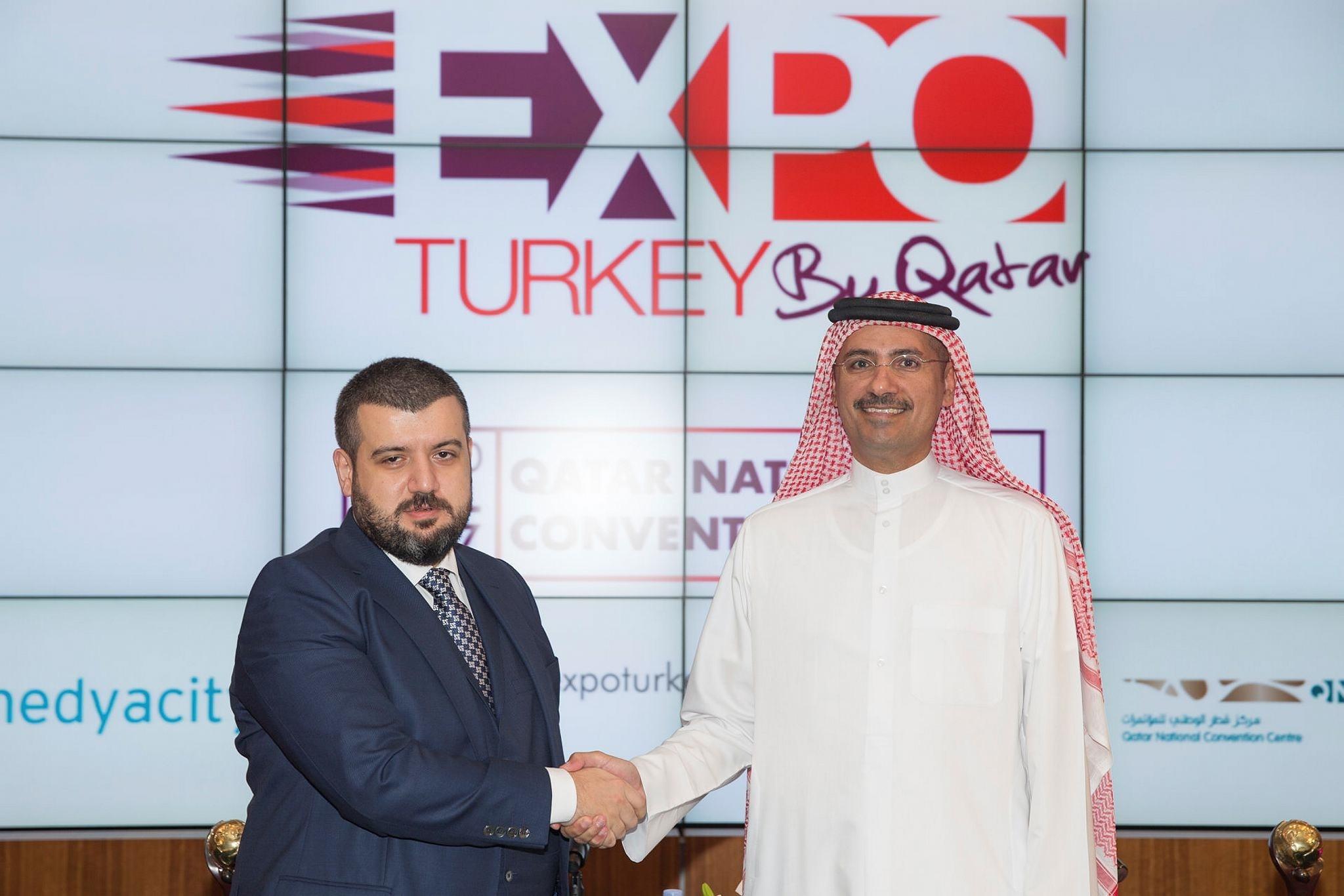 Abdul Aziz Al Emadi, CEO of QNCC and co-organizer of the event (R), and Hakan Kurt, chairman of Medyacity