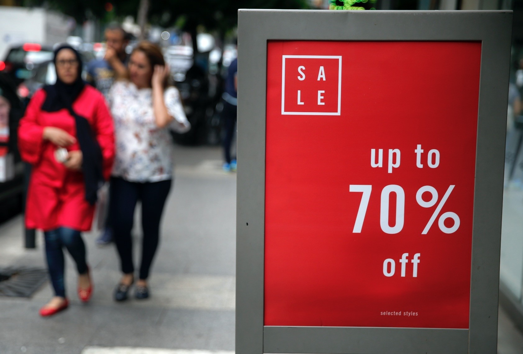 A clothes shop  offers a 70 percent sale, in Beirut, Lebanon.