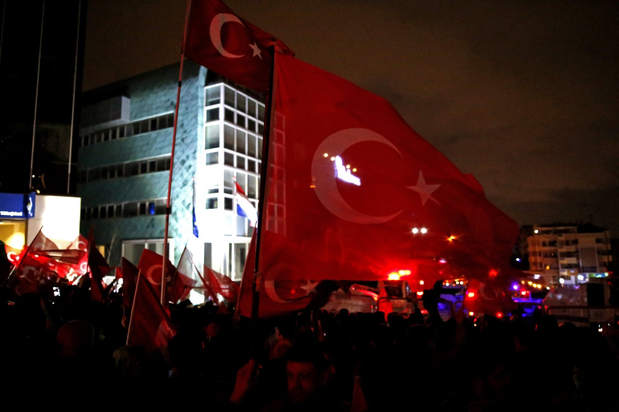 People shouting slogans in front of the Netherlands Embassy in Ankara against the Dutch government's treatment of Turkish Family and Social Policy Minister Fatma Betu00fcl Sayan Kaya, March 12.