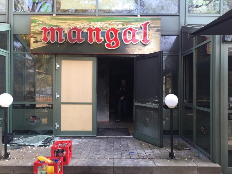 Picture shows Turkish restaurant ,Mangal, in Chemnitz severely damaged after an arson attack. (IHA Photo)