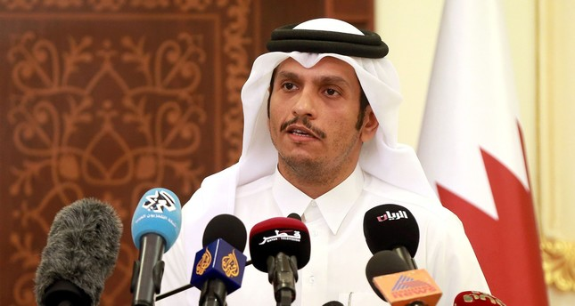 Qatari Foreign Minister Mohammed bin Abdulrahman al-Thani gives a press conference in Doha on May 25, 2017. (AFP Photo)