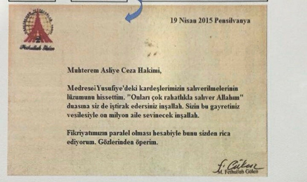 Photo shows the letter allegedly penned by Fetullah Gu00fclen sent to FETu00d6-affiliated judges, which was recently seized by Turkish security officials.