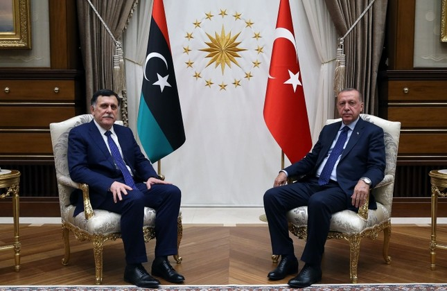 President Recep Tayyip Erdoğan, right, meets with Prime Minister of the Government of National Accord of Libya Fayez al-Sarraj at the Presidential Complex in Ankara, March 21, 2019. AA Photo