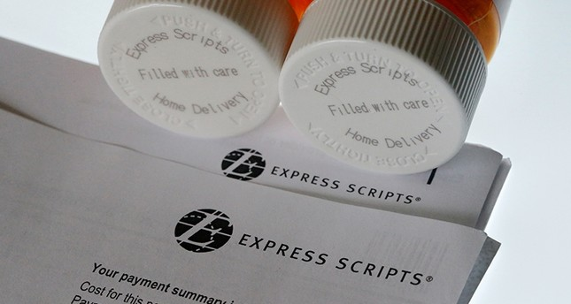 In this July 25, 2017, file photo, Express Scripts prescription medication bottles are arranged for a photo in Surfside, Fla., U.S. (AP Photo)