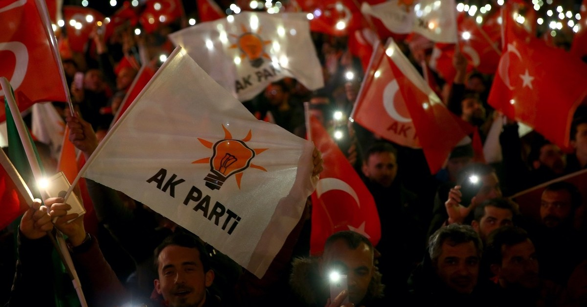 AK Party supporters gather outside the party's headquarters to celebrate the March 31 local election results, Ankara, April 1, 2019.