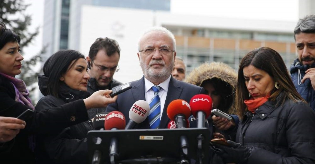 AK Party Kayseri Deputy Mustafa Elitau015f speaks to reporters in front of the party headquarters, Feb.7, 2020. (AA Photo)