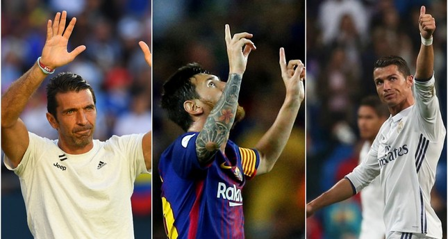 Buffon (L) joins Messi (C), Ronaldo (R) on UEFA shortlist.