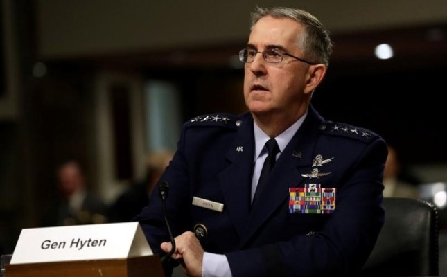 U.S. Air Force General John Hyten, Commander of U.S. Strategic Command, testifies in a Senate Armed Services Committee hearing on Capitol Hill in Washington, U.S., April 4, 2017. (Reuters Photo)