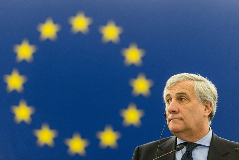 Antonio Tajani,President of the European Parliament, listens to a speech during the debate about the constitution, rule of law and fundamental rights in Spain  (EPA Photo)
