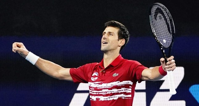 Djokovic celebrates his victory over Nadal during the final match of the ATP Cup in Sydney, Jan. 12, 2020. EPA Photo