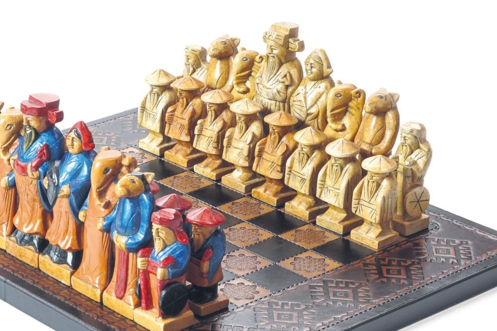 Vietnamese chess sets, which show the culture and history of the country, are on display at the Gu00f6kyay Foundation Chess Museum.