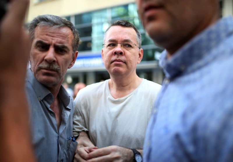 In this July 25, 2018 photo, Andrew Craig Brunson, an evangelical pastor from Black Mountain, North Carolina, arrives at his house in Izmir, Turkey. (AP Photo)
