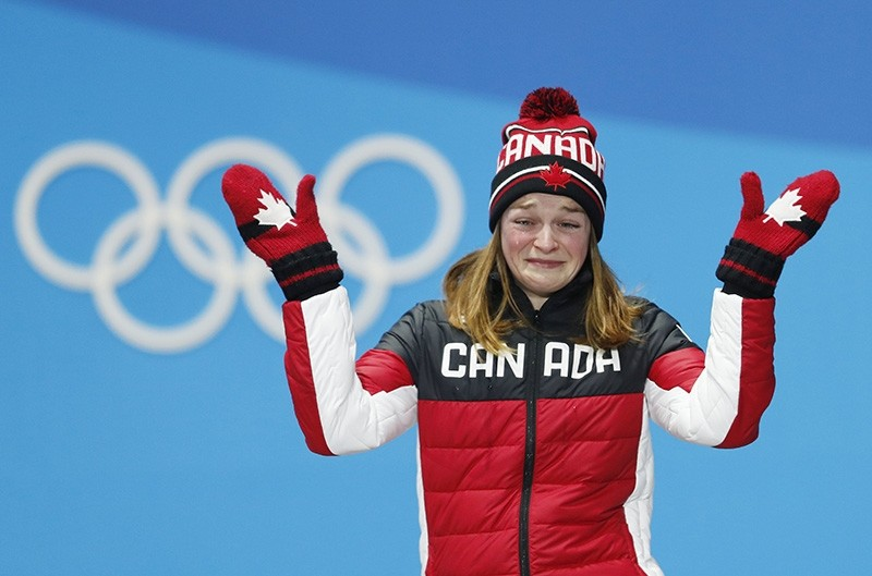 Bronze medal winner Kim Boutin of Canada during the medal ceremony for the women's 500m Short Track Speed Skating event at the PyeongChang 2018 Olympic Games, South Korea (EPA Photo)