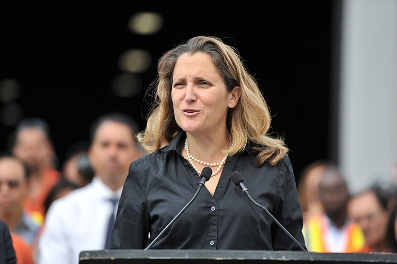 In this file photo taken on August 24, 2018, Canada's Minister of Foreign Affairs Chrystia Freeland speaks at the Tree Island Steel Company, in Richmond, British Columbia. (AFP Photo)