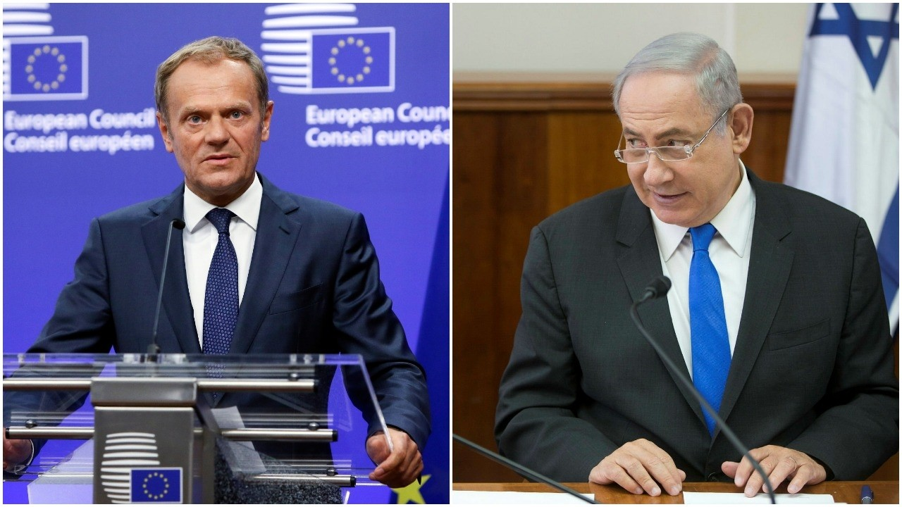 EU chief Tuska and Israeli PM Netanyahu. (EPA Photos)