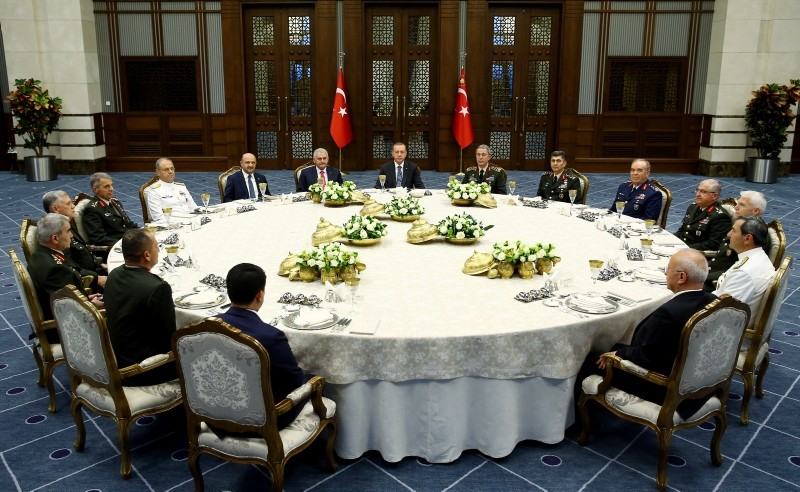 Members of the Supreme Military Council attend a working dinner hosted by President Recep Tayyip Erdou011fan at the Beu015ftepe Presidential Complex on July 28, 2016. (Presidential Photo Service)